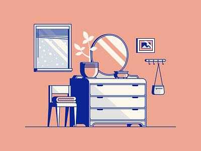 Spring Snowstorm plant mirror bedroom home dresser chair furniture illustration