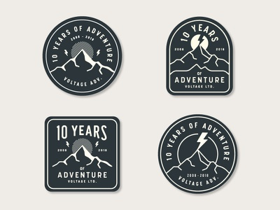 Voltage Adventure Patches years voltage peak outdoors mountain lightning bolt anniversary agency adventure