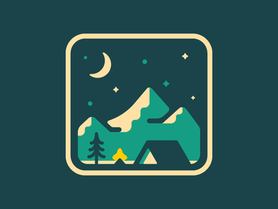Camping Scene trees outdoors tent moon stars patch badge camping night
