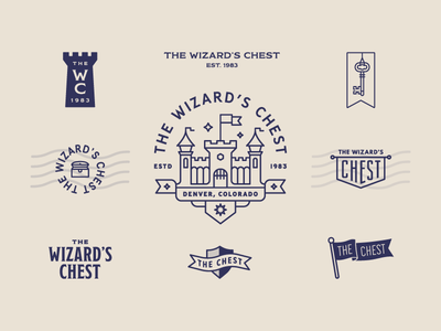 The Wizard's Chest – Logo Set medieval key logo banner magic castle flag chest wizard