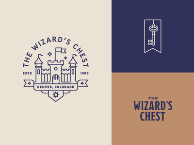 The Wizard's Chest – Main Logos medieval key logo banner magic castle flag chest wizard
