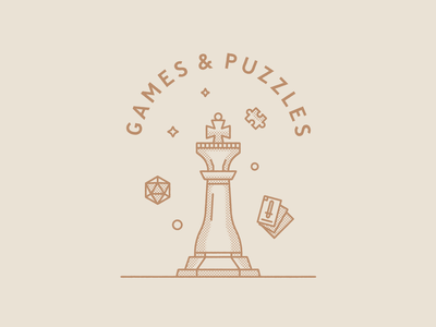 Games & Puzzles illustration puzzles cards dice chess king wizard chest
