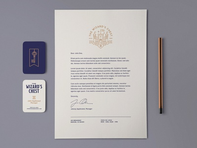 The Wizard's Chest – Stationary card castle chest wizard key business card logo stationary