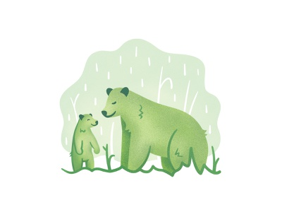 Black Bears nature illustratoin rain meadow cub spring bear black