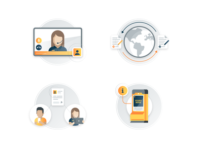 Customer Experience Concepts (Set 1) service experience tech icons illustrations customer