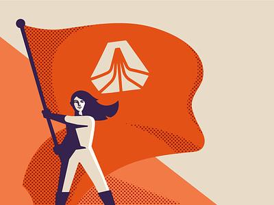 Skookum Meetup Poster woman illustration skookum woman flag poster propaganda russian soviet
