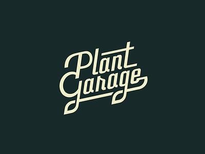Plant Garage – Logo identity brand custom type logo car auto typography vintage retro nature garage plant
