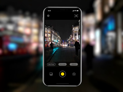 NeuralCam Night Photo App Concept bold font big type night photo interface interaction design ui transition ios art direction app