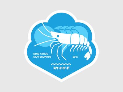 A shrimpy sticker for Nine Yards Skateboards - 2007