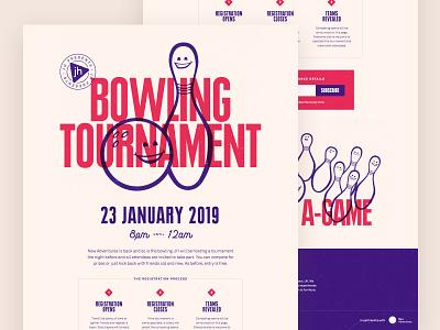 Bowling Tournament purple oldschool retro badge landing page game pins bowling pin tournament bowling