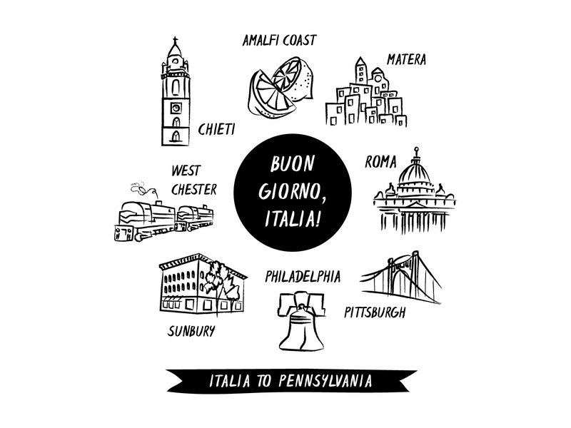 Mi Familia lemon rome pittsburgh philadelphia pennsylvania hand drawn europe city illustration design
