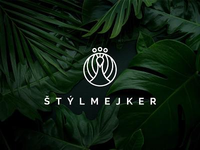 Štýlmejker logo strokes visual identity brand stylist fashion peacock logo