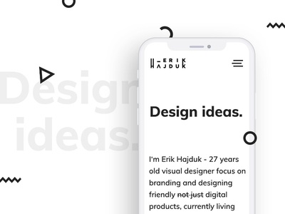 Erik Hajduk personal website on mobile
