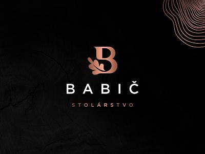 Babič logo visual identity brand wood joinery oak carpentry logodesign leaf b pictogram logo