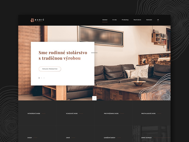 Babič Stolárstvo Webdesign design web dark wood joinery carpentry ux ui webdesing