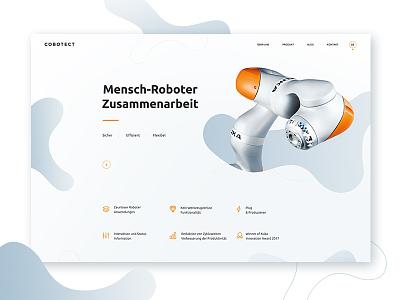 Cobotect Homepage robotic oarange blue robot tech webdesign design web ux ui