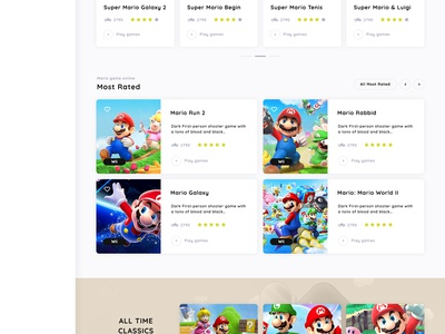 MarioGames Homepage game app game mario games super mario app web design user interface ux ui webdeign