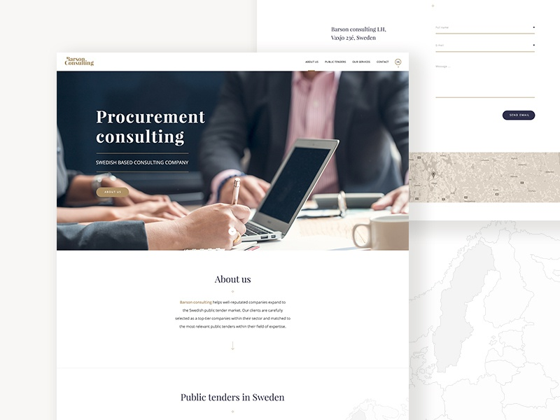 Barson Consulting Webdesign sweden swedish finance consulting blue gold web homapage ux ui webdesign