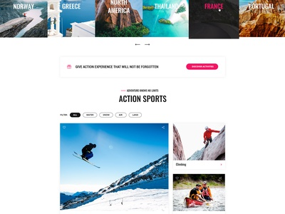 ActionLook Homepage travel adventure sport appdesign app user inteface user experience uidesign uxdesign website brand web webdesign design ux ui