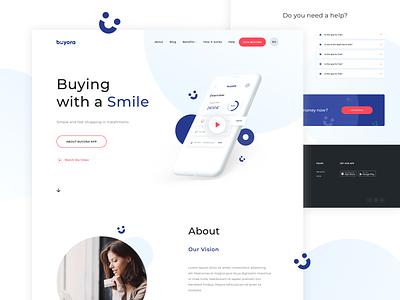 Buyora Marketing Page fintech buyora financial app finances finance vector app design website app blue webdesign web design ux ui