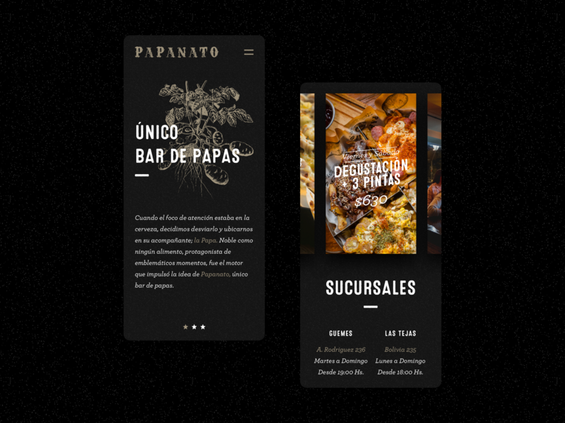 Single Page for Papanato Bar mobile website web ux ui sketch singlepage restaurant motion minimal landing interface illustration frenchfries food flat design beer animation