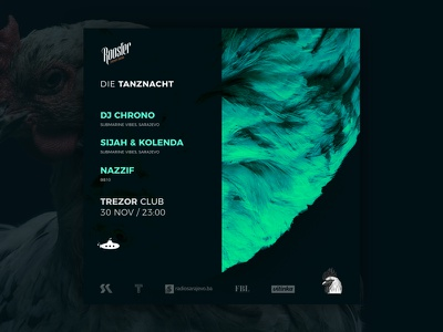Die Tanznacht - Event Flyer trezor dj party event rooster flyer party vibes submarine