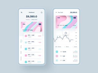 Bank App dimas arya pambayun cryptocurrency crypto pink 3d bank app analytic card list ui wallet app design activity
