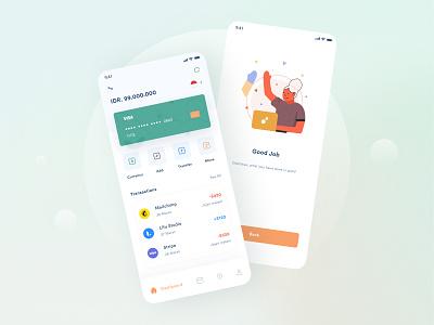Hematz Mobile Banking App illustration branding analytic card modern design transfer app design app payment wallet bank uiux