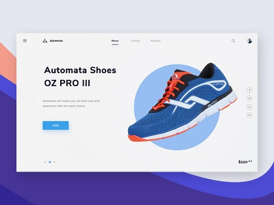 Automata #Exploration modern e-commerce product sneaker shoe social mainpage dashboard shop landing