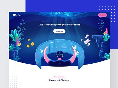 VR landing Page school lifustudio blue web design beach ocean sea virtual reality vr app vector branding app design web modern logo illustration ux ui dashboard