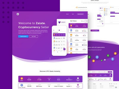 Zalate Crypto list ico agency landing page bitcoin cryptocurrency trading activity wallet ui web