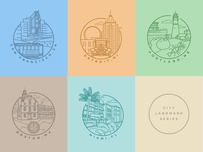 City Landmark Series linework cityscape city illustration design logo icon simple line art line drawing vector vector art illustration