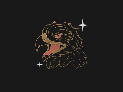 The Swooper head hawk falcon bird eagle gold patch emblem illustration vector