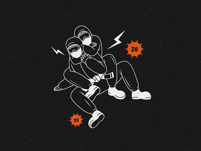 Choke Chasers Layout V2 fight hazmat mask coronavirus vector illustration grungy mma choke bjj