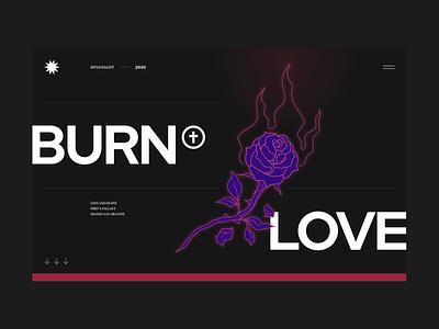 Burnt Love flat dark burn rose love web hero editorial ui web banner
