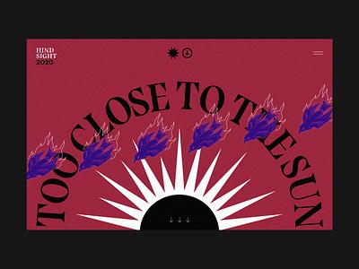 Too Close To The Sun sun burn landing hero banner ui web design web flat editorial