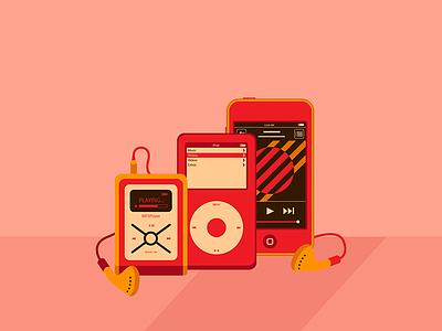 MP3 Players ipod sandisk mp3 player music illustration vector digital illustration flat
