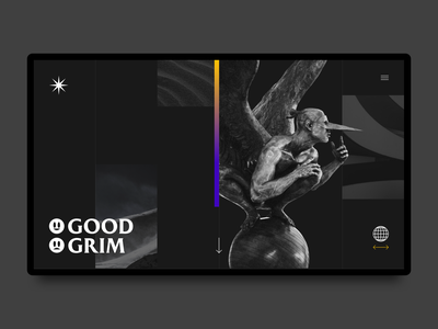 Good & Grim Landing Page - Grim Version grid minimal website design web ux ui concept landing page grim good