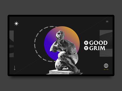 Good and Grim Landing Page - End Version ux ui design website web statue broken landing page concept grim good