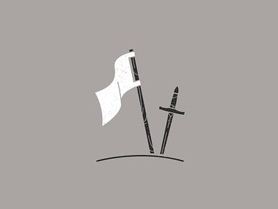 Surrender Two-Tone Version war fight stencil battle sword flag surrender minimalist flat illustration vector