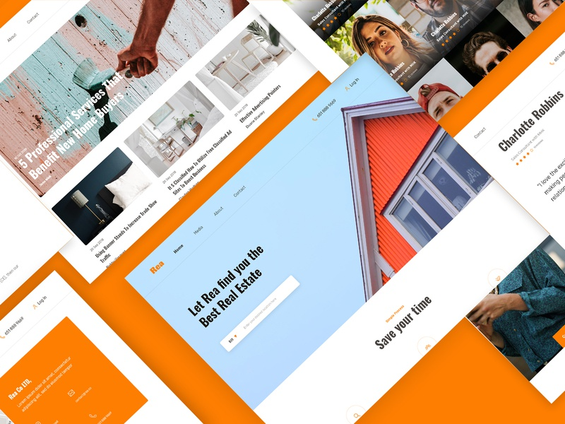 REA - Real Estate Agent Website Free UI Kit download for free download uikit userinterface concept agency services website design ui