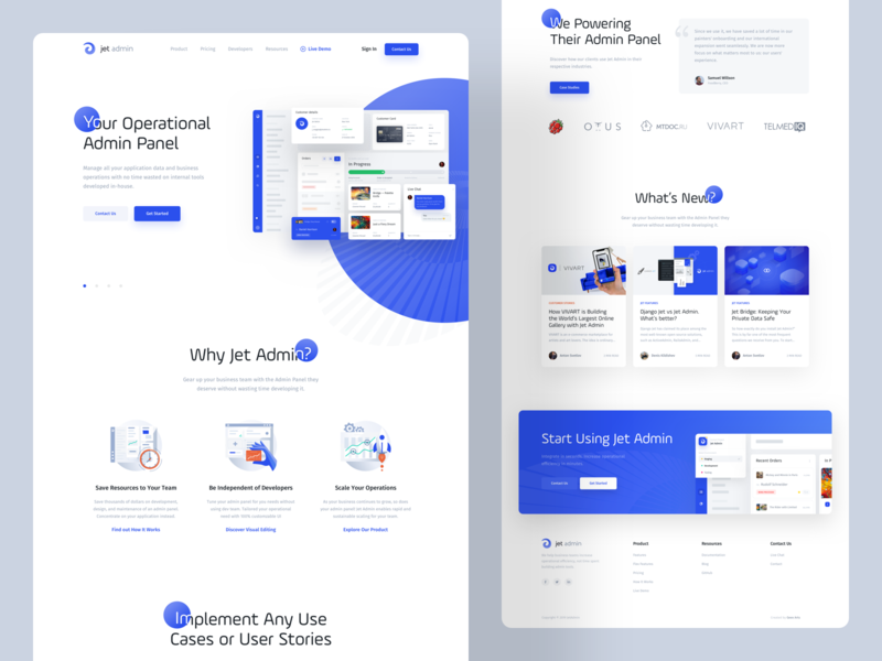 Jet Admin - Landing Page clean tool behance landing page landing analytics webdesign web ux ui statistics product interface grid dashboard ui dashboard creative business admin panel admin
