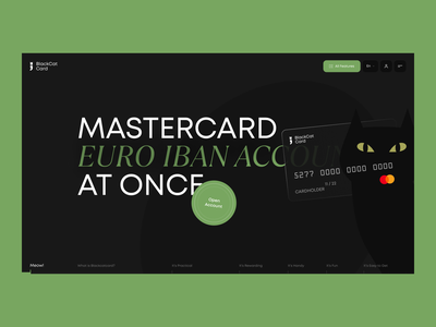 BlackCatCard product design black cat financial banking bank card bank cat interaction typography website creative webdesign interface clean web ux ui landing page landing