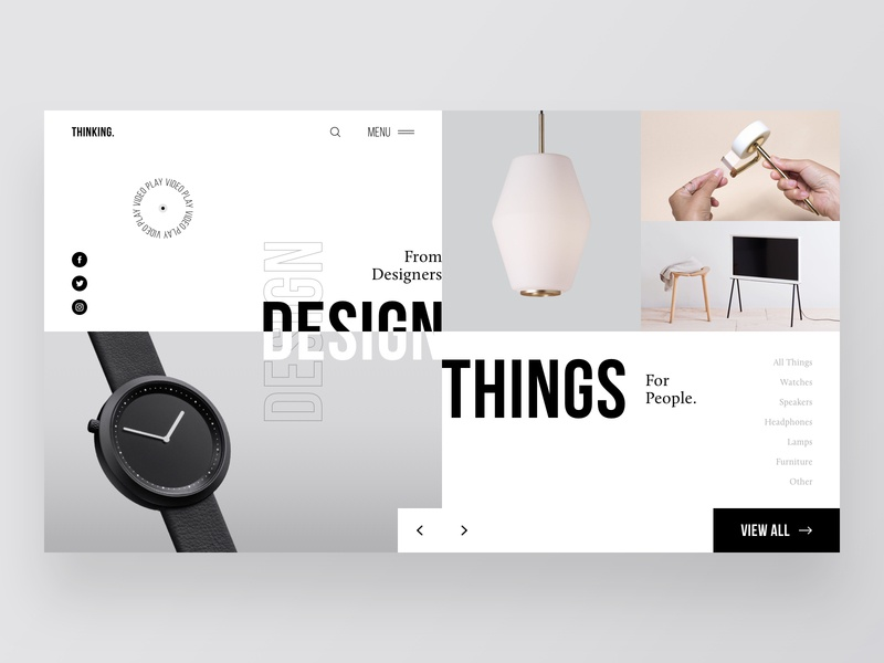 Thinking - Home Page things homepage grid concept typography website navigation ecommerce design clear sketch minimal creative inspiration webdesign interface clean web ux ui