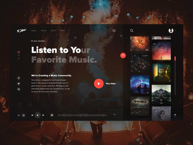 Sound - Home Screen concept typography website navigation design clear sketch creative inspiration webdesign interface clean web ux ui porfolio music player music player ui