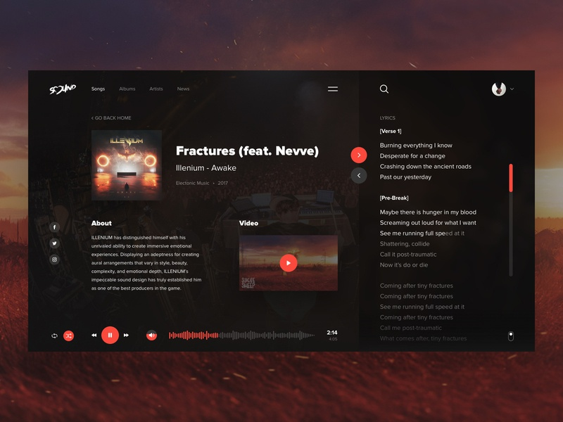 Sound - Song Screen music player ui player music porfolio ui ux web clean interface webdesign inspiration creative sketch clear design navigation website typography concept song