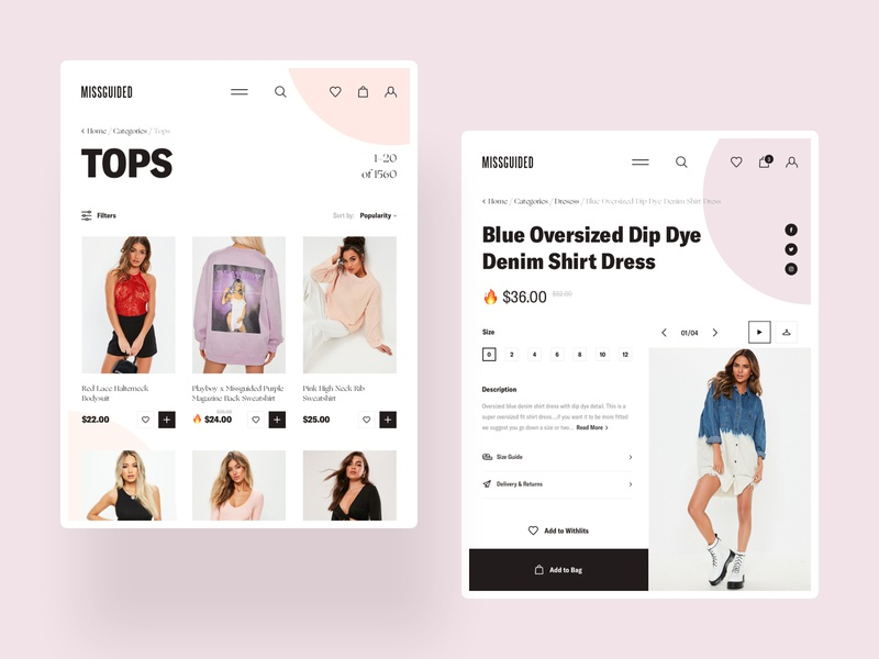MISSGUIDED - Product Page / Tablet tablet ecommerce woman porfolio ui ux web clean interface webdesign inspiration creative sketch clear design website typography grid dailui interaction