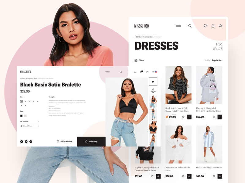 MISSGUIDED - New Project interaction dailui grid typography website design clear sketch creative inspiration webdesign interface clean web ux ui porfolio missguided woman ecommerce
