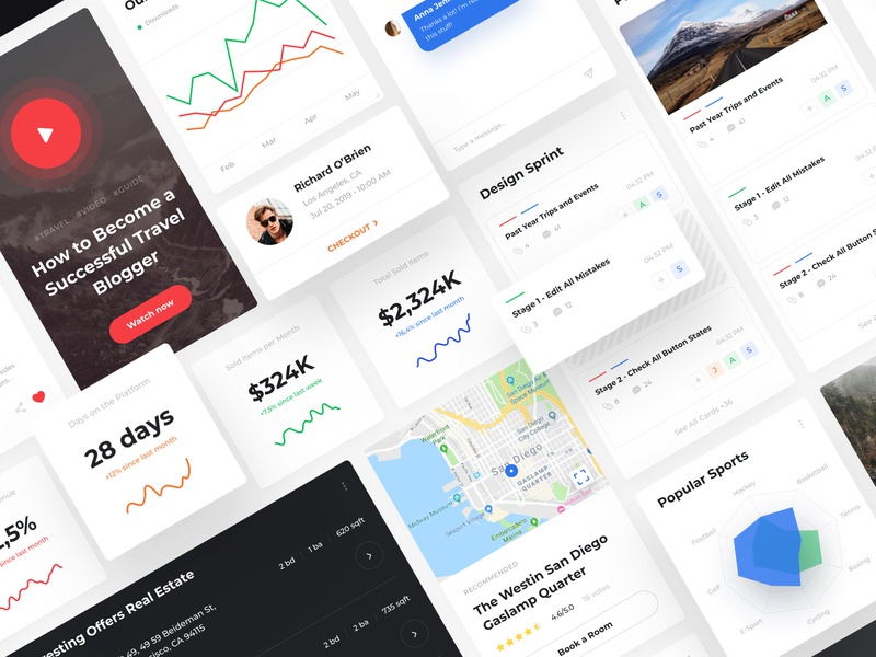 Alaska UI Kit - New Update adobe xd figma cards website creative inspiration webdesign interface clean portfolio ui uikit ux design sketch free navigation landing page widgets web