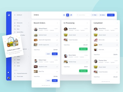 Jet Admin - CRM for Restaurants kanban admin admin panel chat interface product web manager movies dc statistics ux webdesign grid creative chart ui dashboard business widgets